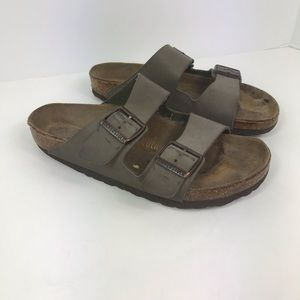 Birkenstock arizona two strap tan sandals cork